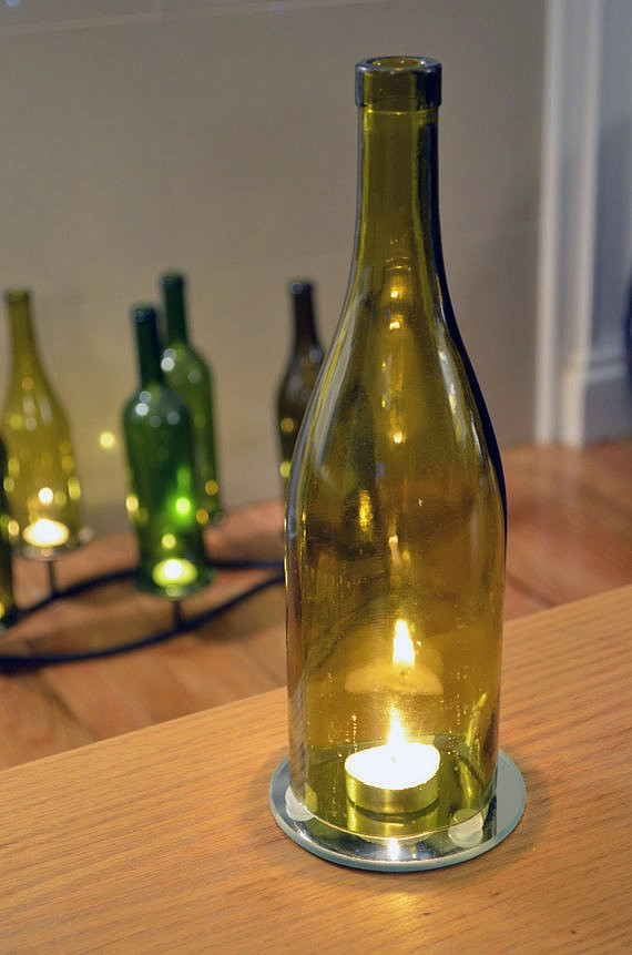 10 mind blowing upcycling ideas 10 will be mine page for How to make candle holders out of wine bottles