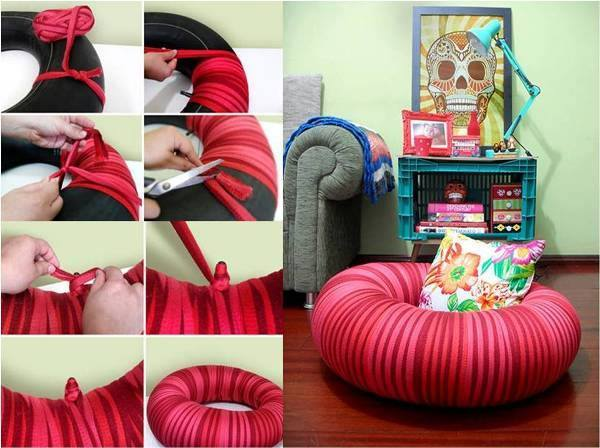 She Wraps This Inner Tube And What She Ends Up With Is Perfect For The Family Room! - Page 2 of 2 - Wise DIY Wise DIY